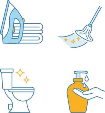 Cleaning service color icons set. Ironing, mop, clean toilet, hands soap. Isolated vector illustrations