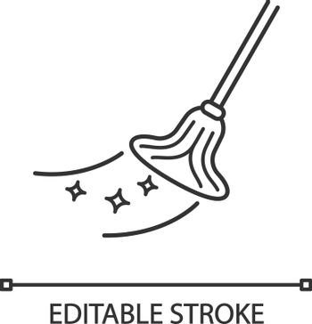 Cleaning mop linear icon. Thin line illustration. Mopping floor. Contour symbol. Vector isolated outline drawing. Editable stroke