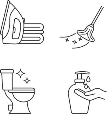 Cleaning service linear icons set. Ironing, mop, clean toilet, hands soap. Thin line contour symbols. Isolated vector outline illustrations. Editable stroke