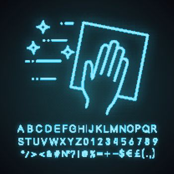 Cleaning napkin neon light icon. Windows cleaning cloth. Surface wiping, disinfection. Glowing sign with alphabet, numbers and symbols. Vector isolated illustration