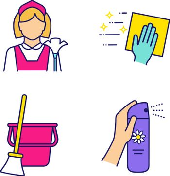 Cleaning service color icons set. Maid, cleaning napkin, broom and bucket, air freshener. Isolated vector illustrations