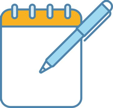 Notepad with pen color icon. Taking notes. To do list. Planner. Action planning. Business plans, goals, tasks writing down. Isolated vector illustration
