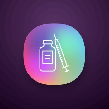 Medicine vial and syringe app icon. Neurotoxin injection. Medications. UI UX user interface. Web or mobile application. Vector isolated illustration