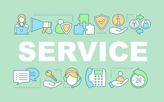 Service word concepts banner. Call center, hotline, helpdesk. Presentation, website. Customer suport. Isolated lettering typography idea with linear icons. Vector outline illustration