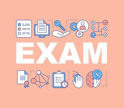 Exams word concepts banner. Examination. Presentation, website. Educational testing. Solution searching. Isolated lettering typography idea with linear icons. Vector outline illustration