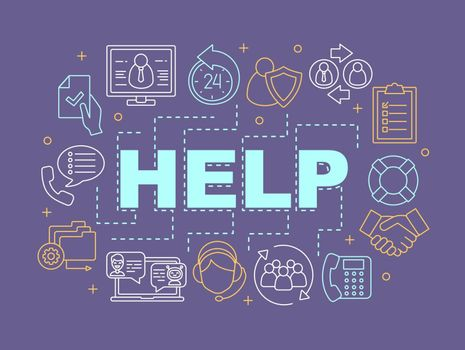 Help word concepts banner. Helpdesk. Presentation, website. Client assistance. Customer support. Isolated lettering typography idea with linear icons. Vector outline illustration