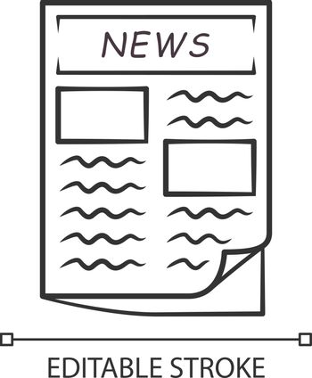 Newspaper linear icon. Periodical publication. Daily news journal article. First broadside of popular newspaper. Thin line illustration. Contour symbol. Vector isolated outline drawing Editable stroke