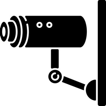 Video surveillance black glyph icon. Security camera for private safety. CCTV for monitoring area. Observe zone for danger of theft. Silhouette symbol on white space. Vector isolated illustration