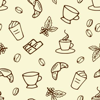 Simple vector seamless pattern. Brown outline of coffee elements on a light beige background. For packaging, products, barista.