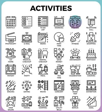 Daily Activities concept detailed line icons set in modern line icon style concept for ui, ux, web, app design