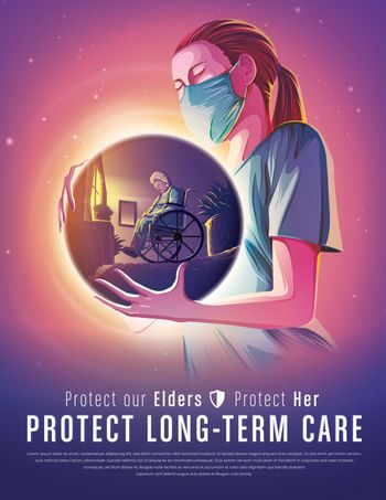 An imaginary illustration featuring the female long-term care worker holding an abstract spherical shape that has the image of the female elder sitting in her wheelchair alone in the room.