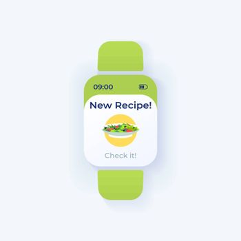 Daily recipe smartwatch interface vector template. Mobile app notification day mode design. Breakfast preparation idea message screen. Flat UI for application. Fresh snack. Smart watch display