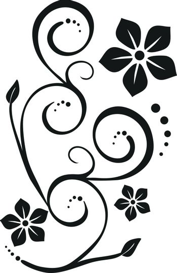 Floral ornament in black and white