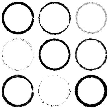 Set of Grunge circle stamp draft mockup of distress overlay basis texture for your design. Thin thorn scratchy circular ring edge frame for icon, logo, badge, insignia or label template. EPS10 vector.