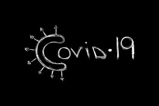 Covid 19 handdrawn logo. Coronavirus pandemic symbol inscription. EPS10 vector.