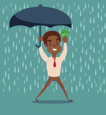 Businessman holding umbrella to protect money. Vector illustration for financial, insurance savings concept