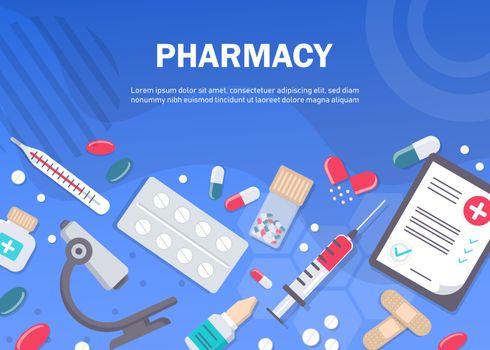 Pharmacy background, pharmacy design, pharmacy templates. Medicine, pharmacy, hospital set of drugs with labels. Medication, pharmaceutics concept. Different medical.