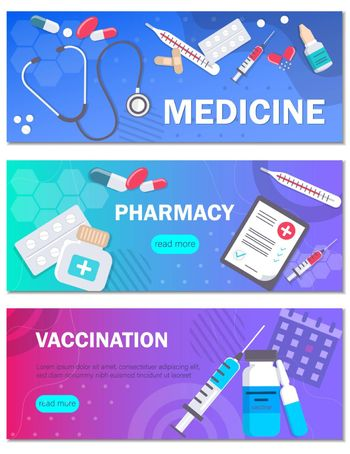 Pharmacy and vaccination concept templates for horizontal web banners . Can use for backgrounds, infographics, hero images. Health Medical Flat modern vector illustration.