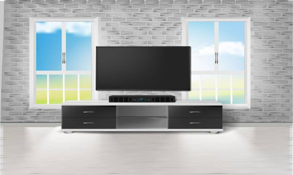 mock up illustration of entertainment set in a living room