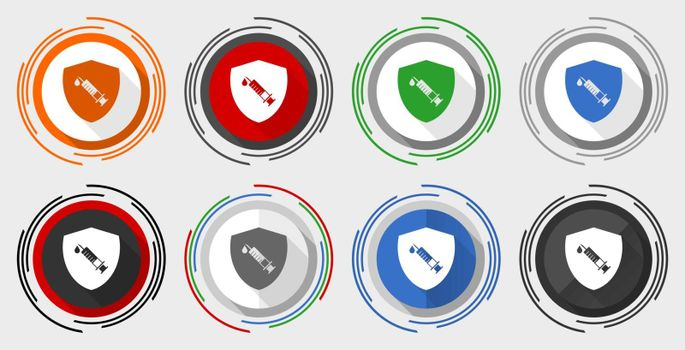 Vaccine shield concept modern design flat graphic in 8 options for web design and mobile applications