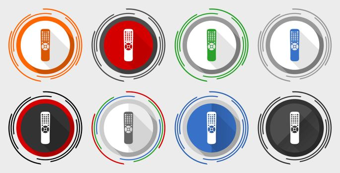 Tv remote control vector icon set, television modern design flat graphic in 8 options for web design and mobile applications