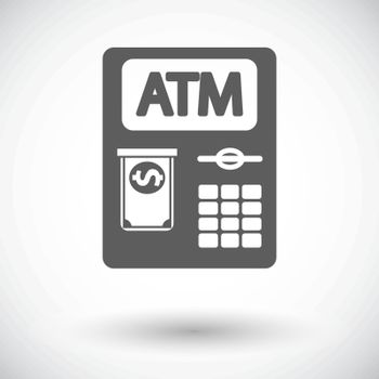 ATM. Single flat icon on white background. Vector illustration.