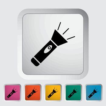 Flashlight. Single flat icon on the button. Vector illustration.