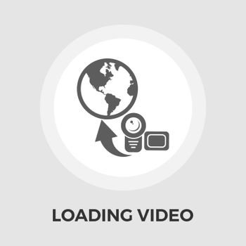 Upload video icon vector. Flat icon isolated on the white background. Editable EPS file. Vector illustration.