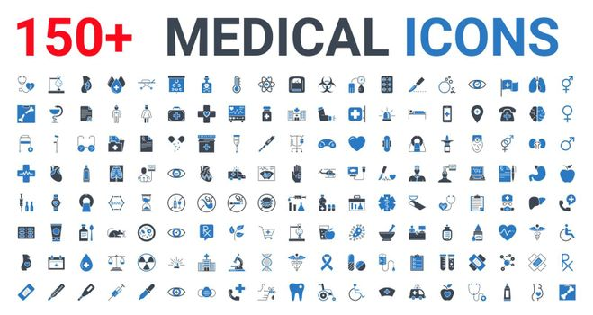 Medical Vector Icons Set. Glyph Icons, Sign and Symbols in Flat Blue Design Medicine and Health Care with Elements for Mobile Concepts and Web Apps. Collection Modern Infographic Logo and Pictogram.