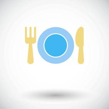 Restaurant. Single flat icon on white background. Vector illustration.