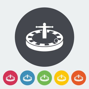 Roulette. Single flat icon on the circle button. Vector illustration.