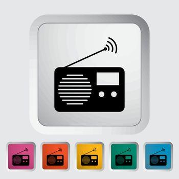 Radio. Single flat icon on the button. Vector illustration.