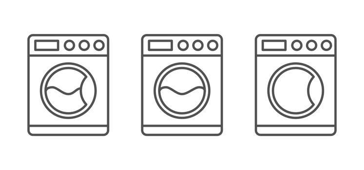 Set of Washing Machine Vector icons. Isolated on White Background.