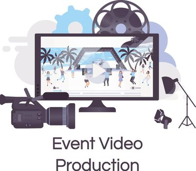 Event video production flat concept icon. Videography, photography and filmmaking sticker, clipart. Live concert shooting and broadcasting. Isolated cartoon illustration on white background
