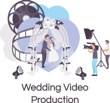 Wedding video production flat concept icon. Videography, photography and filmmaking sticker, clipart. Personal events celebration shooting. Isolated cartoon illustration on white background