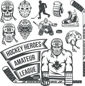 Hockey items in vintage style. Ise hockeq stuff.