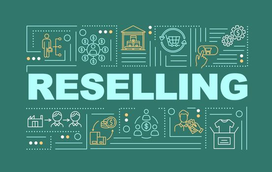 Reselling word concepts banner. P2P business model, innovative commercial service service infographics with linear icons on green background. Isolated typography. Vector outline RGB color illustration