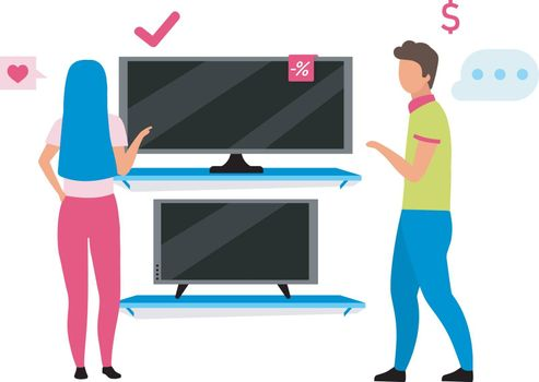 Couple choosing tv flat vector illustration. Shop assistant helping woman to buy tv set in home appliance store cartoon characters. Family shopping, husband and wife making choice in mall