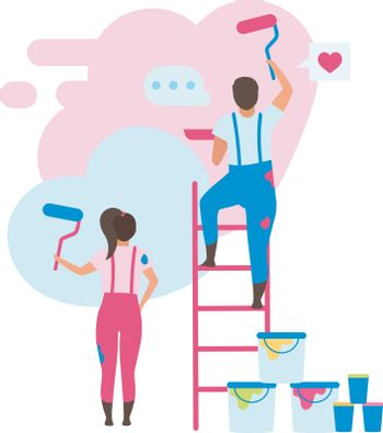 Family decorating home flat vector illustration. Wife and husband choosing color for interior design cartoon character. House reconstruction. Apartment wall painting. Domestic space renovation