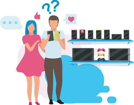 Couple choosing smartphone flat vector illustration. Boyfriend and girlfriend buying phone in appliance store cartoon characters. Customers in store buying new cell phone. Family doing purchases mall
