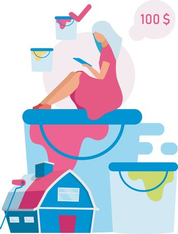 Customer making paint choice flat vector illustration. Woman choosing color for building painting cartoon character. Online shopping, digital purchase. Home service and house renovation