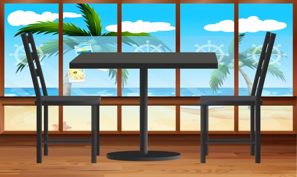 mock up illustration of couple table in a restaurant