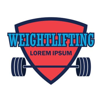 weight lifting logo with text space for your slogan / tag line, vector illustration