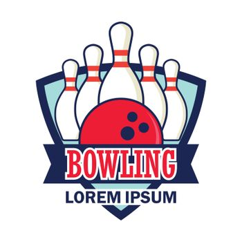 bowling icon with text space for your slogan / tag line, vector illustration