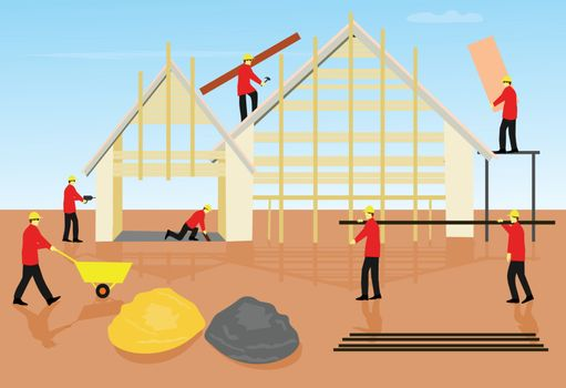 Seven mechanic teams are building houses on brown floors. With a sky as the background