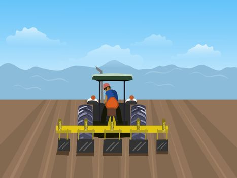 The man is driving tractor. In order to plow the soil in the field. Have a blue sky background