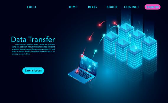 Data Transfer concept, downloading and uploading data to the server. vector illustration isometric style