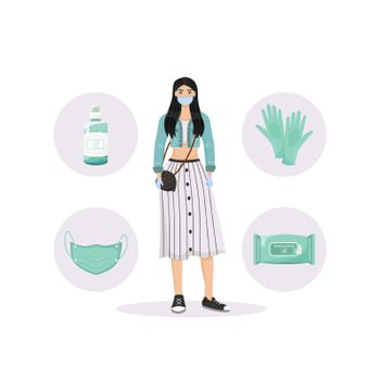 Personal hygiene flat concept vector illustration. Healthcare, virus protection. Woman wearing face mask and gloves 2D cartoon character for web design. PPE and disinfection products creative idea
