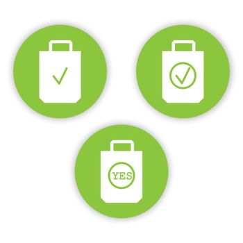 icons of the environmental packages. Use organic bags. Environmental protection РУССКИЙ