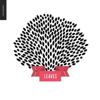 Hand drawn foliage. Vector black and white hand bracnh with leaves